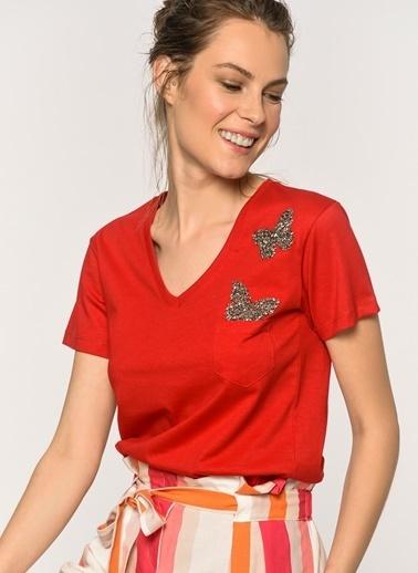 Loves You Kelebek Taşlı T-Shirt Kırmızı